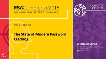 The State of Modern Password Cracking