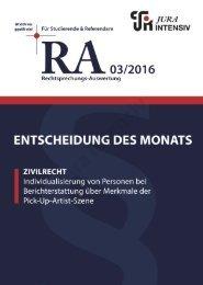 RA 03/2016 - Entscheidung des Monats