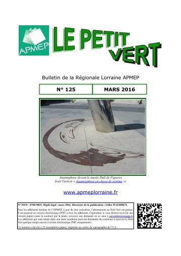 Bulletin de la Régionale Lorraine APMEP N° 125 MARS 2016 www.apmeplorraine.fr