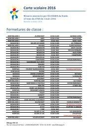Carte scolaire 2016 Fermetures de classe
