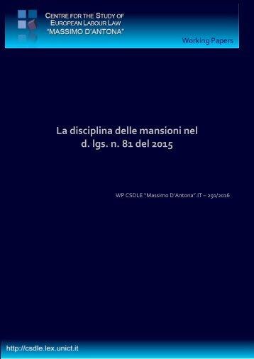 La disciplina delle mansioni nel d lgs n 81 del 2015