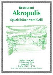 Restaurant Spezialitäten vom Grill - Akropolis, Germersheim