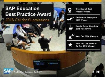 SAP Education Best Practice Award