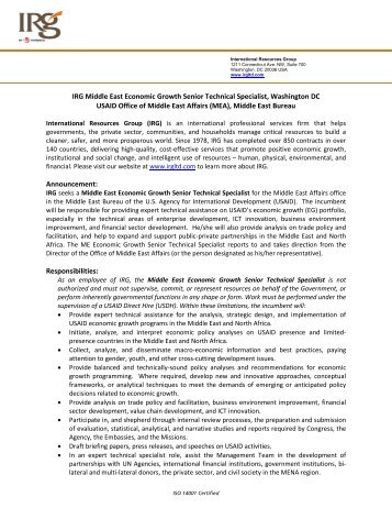 IRG Middle East Economic Growth Senior Technical Specialist