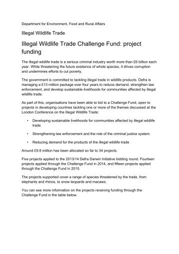 Illegal Wildlife Trade Challenge Fund project funding