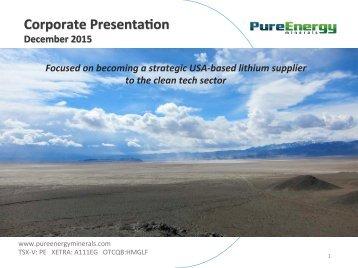 Corporate Presenta,on