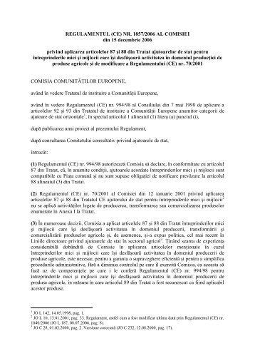 REGULAMENTUL (CE) NR. 1857/2006 AL COMISIEI din 15 ...