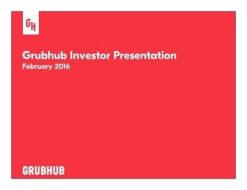 Grubhub Investor Presentation