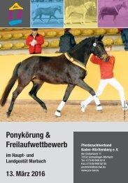 Katalog Ponykörung und Freilaufwettbewerb Warmblut am 13. März 2016