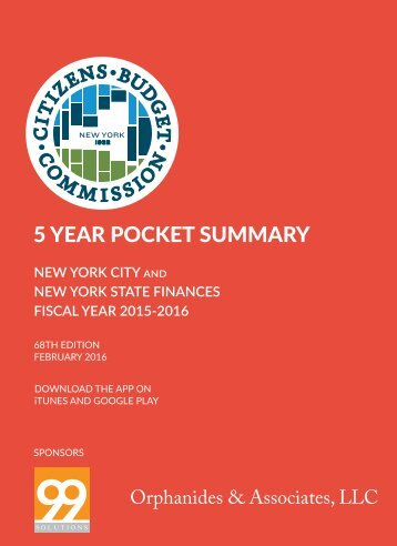 NEW YORK CITY NEW YORK STATE FINANCES FISCAL YEAR 2015-2016