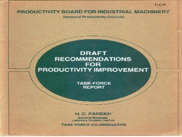 DRAFT RECOMMENDATIONS FOR PRODUCTIVITY IMPROVEMENT