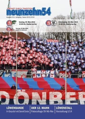neunzehn54, Doppelausgabe Spvg Schonnebeck-ETB SW Essen. Heft 10, Saison 2015/16