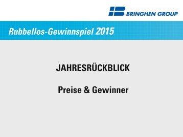 Jahresrückblick 2015 - Rubbellos Gewinnspiel BRINGHEN GROUP