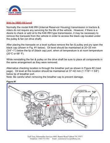 Checking & Adding Oil K46 IRH Model - Tuff Torq Parts