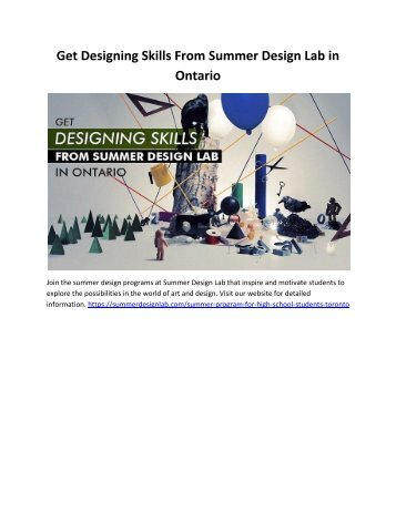 Get Designing Skills From Summer Design Lab in Ontario