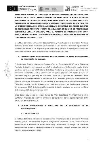 Bases reguladoras de concesión de ayudas - Inicio