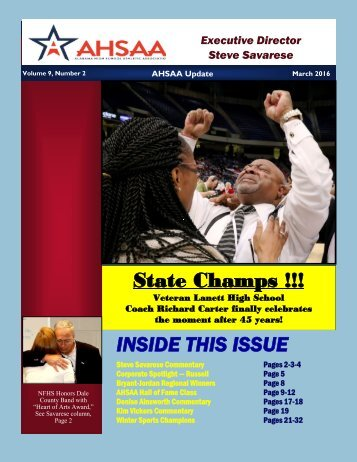 State Champs !!! INSIDE THIS ISSUE