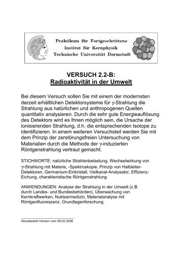 VERSUCH 2.2-B: Radioaktivität in der Umwelt - Institut für Kernphysik