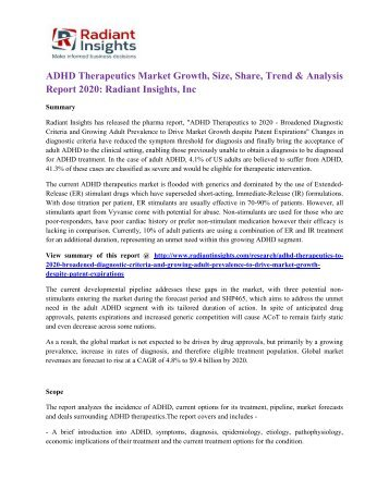 ADHD Therapeutics Market Growth, Size, Share, Trend & Analysis Report 2020 Radiant Insights, Inc