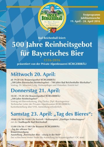 500 JahreReinheitsgebot Bürgerbräu Bad Reichenhall