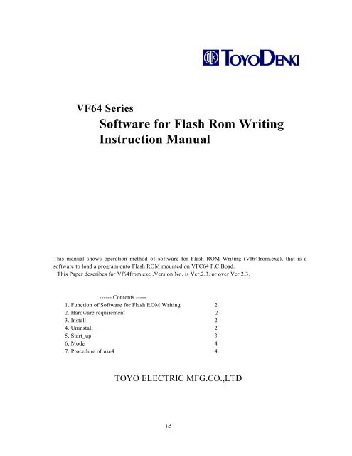 VF64 Series Software for Flash Rom Writing Instruction Manual