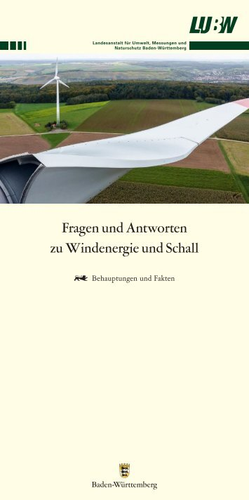 Flyer zu den Häufigsten Fragen zu Windenergie und Schall bzw. Infraschall