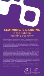 LEARNING IS EARNING in the national learning economy