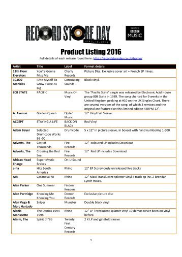Product Listing 2016