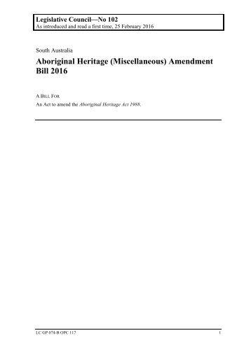 Aboriginal Heritage (Miscellaneous) Amendment Bill 2016