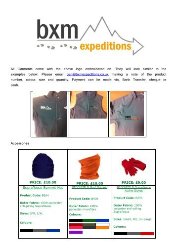 Garments come with the above logo embroidered - BXM Expeditions