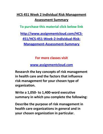 risk and quality management assessment summary Free essay: assessment summary of risk and quality management hcs/451 february 4, 2013 assessment summary of risk and quality management as i was reading.