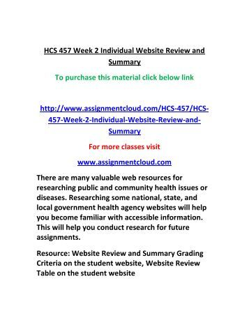 website review and summary hcs457december 11th