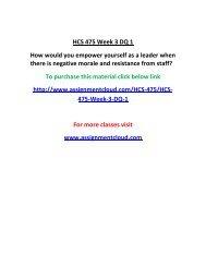 UOP HCS 475 Week 3 DQ 1