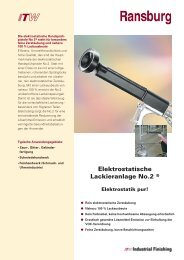 Elektrostatische Lackieranlage No.2 ® - TT-TransTechnik GmbH