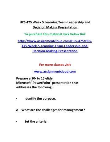 hcs 475 week 4