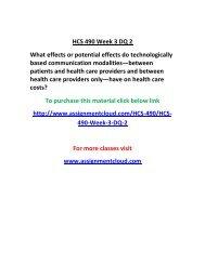 UOP UOP HCS 490 Week 3 DQ 2