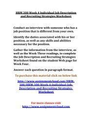 UOP HRM 300 Week 4 Individual Job Description and Recruiting Strategies Worksheet