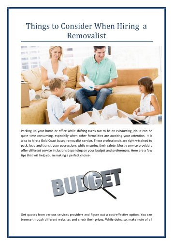 Things to Consider When Hiring a Removalist