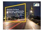 German FinTech landscape opportunity for Rhein-Main-Neckar