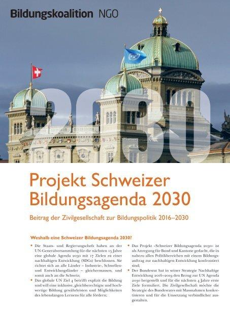 Bildungskoalition NGO - Projekt Schweizer Bildungsagenda 2030