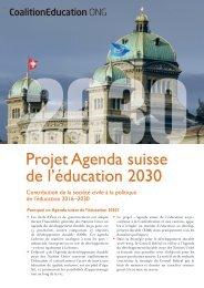 Coalition Education ONG - Projet Agenda suisse de l'éducation 2030
