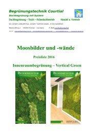 Moosbilder und -wände  Preisliste 2016 www.dachbegrünung.eu