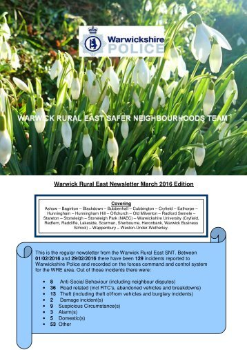 Warwick Rural East Newsletter March 2016 Edition