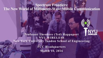 The New World of Millimeter-Wave Mobile Communication
