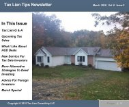 Tax Lien Tips Newsletter In This Issue