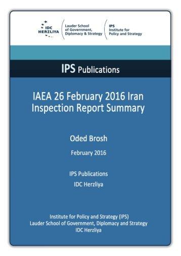 IAEA 26 February 2016 Iran Inspection Report Summary