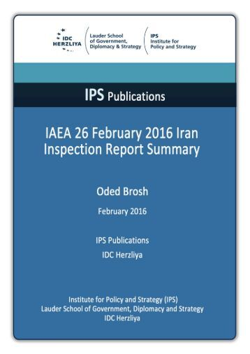IAEA 26 February 2016 Iran Inspection Report Summary