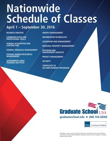 Nationwide Schedule of Classes