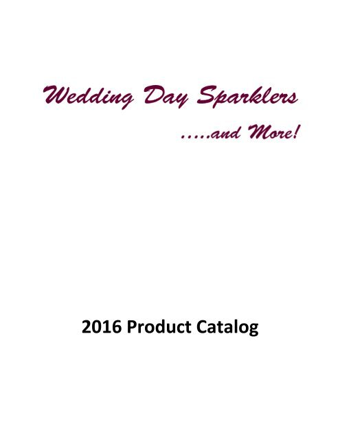 2016 Wedding Day Sparklers Products Catalog