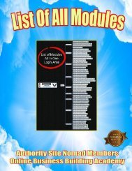 Online Business Building Academy List of All Modules.
